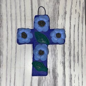 """Small Mexican Pottery Blue Wall Cross 4"""""""